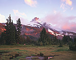 Evening light on Mount Jefferson in Oregon's Cascade Range.