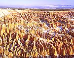 Snow-covered pinnacles at Bryce Canyon, Utah