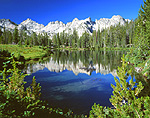 Sawtooth Range and unnamed lake, Idaho.