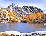 Autumn view of Prusik Peak & Sprite Lake in Washington's Alpine Lakes Wilderness