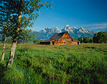 Historic Moulton Barn & Teton Range. Grand Teton National Park, Wyoming.