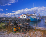 """""""Skips Dock"""" lobster fisherman's dock, store front, boat and gear."""