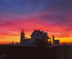 Silhouette of Pemaquid Pt Lighthouse and dawn colors in sky