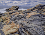 Igneous bedrock patterns smoothed by wind and water, and breaking waves,  Pemaquid Point