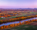 Connecticut River valley with farms, fields, with views to Amherst and Holyoke mtns in fall
