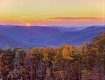 Sunrise over Berkshire hills and Deerfield River valley in fall along route 2 the Mohawk Trail
