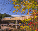 West Dummerston covered bridge in fall over the West River 280ft long
