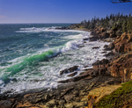 Waves and rugged granite shoreline, view to Green Point, Quoddy Head State Park