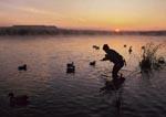 Duck hunter setting decoys on Snake River