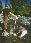 U.S. Geological Survey biologists collecting benthic macroinvertebrates