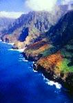 Aerial view of Na Pali Coast on island of Kaua'i, Hawaii