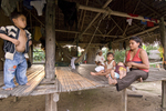 River people (riberenos), indigenous people in small village on El Tigre River, Loreto, Peru