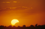 Partial solar eclipse at sunset; Boise, ID July 1990