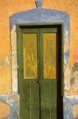 Door on old building in Celustun, Yucatan, Mexico