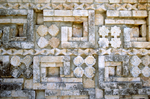 Architectural mosaic of geometric forms of the Great Pyramid, Uxmal Mayan site, Yucatan, Mexico