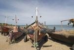 Fishing boats at fish camp in Piriapolis in Maldonado Uruguay