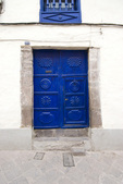 Blue doors in Cusco Peru