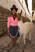 Peruvian woman with llama in downtown Cusco Peru