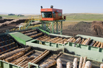 Logs being processed at state-of-the-art Bennett Lumber Company Sawmill in Grangeville ID