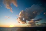 Sunset over Great Barrier Reef northeast of Cairns in Queensland Australia