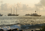 Tour boats anchored off of Espanola Island in The Galapagos Islands Ecuador
