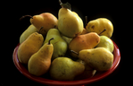 Pears in a red bowl