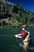 Fly fishing on the South Fork of the Snake River in eastern Idaho   (MR)