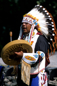 Indian performing with drum at Sacajawea Heritage Days in Salmon Idaho in August 2003