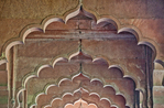 "Architectural detail of arches in the ""Mail Hall"" in the ""Hall of Public Audience"" in the Red Fort in Delhi India"