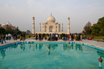 Tourists, Taj Mahal and reflecting pool, Agra, India
