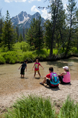 Family recreating on Stanley Lake Creek in the Sawtooth National Recreation Area, ID