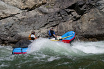 Rafter rowing through Upper Cliffside Rapid (class IV) on the Middle Fork of the Salmon River in the Frank Church - River of No Return Wilderness Idaho