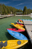 Dock with kayaks and paddleboards at Redfish Lake Lodge in the Sawtooth National Recreation Area Idaho