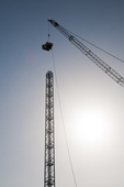 Downtown Boise tower crane construction, Downtown Boise Multimodal Center; May 2015