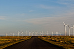 Road leading towards wind farm (Mountain Home Project, Exelon Generation) at in SW Idaho