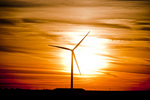 Wind turbine at sunset (Mountain Home Project, Exelon Generation) in SW Idaho