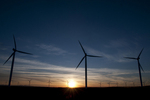 Wind turbines at sunset (Mountain Home Project, Exelon Generation) in SW Idaho