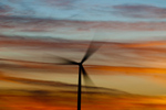 Spinning wind turbine at sunset (Mountain Home Project, Exelon Generation) in SW Idaho