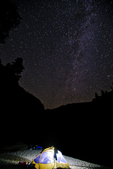 tent at night under the Milky Way at Elk Bar on the Middle Fork of the Salmon River in the Frank Church-River of No Return Wilderness, ID