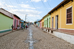 View down cobblestone street in old part of Trinidad Cuba