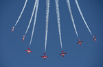 Royal Canadian Snowbirds performing at the Gowen Thunder 2017 Airshow at Gowen Field in Boise Idaho on October 14 2017