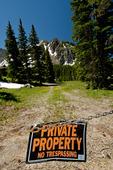 No trespassing sign in central Colorado blocking access to public land