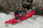 Kayaking on the North Fork of the Payette River, Idaho, in Jacob's Ladder Rapid in the 2018 North Fork Championship