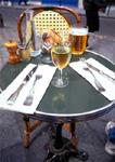 Cafe table in Paris' fashionable Marais district.