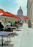 Cafe Asia's terrace outside the Asian Art Museum; the Museum, and City Hall in the distance, are part of the Beaux-Arts inspired Civic Center.
