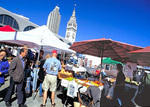 Shopping at the Ferry Plaza Market on the Embarcadero waterfront.