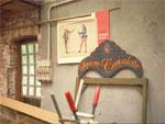 Interior of a gondola workshop in Venice.