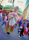 A Tall Immortal - one of the Eight Immortals of Taoism that symbolizes longevity - in Chinatown during the Chinese New Year festivities.
