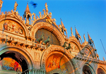 Oriental facade of the San Marco Basilica, at sunset, in San Marco Square.