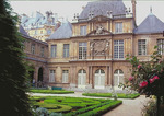 Garden court and 17C buildings of the Musee Carnavalet, once an historic mansion in Paris' Marais.
